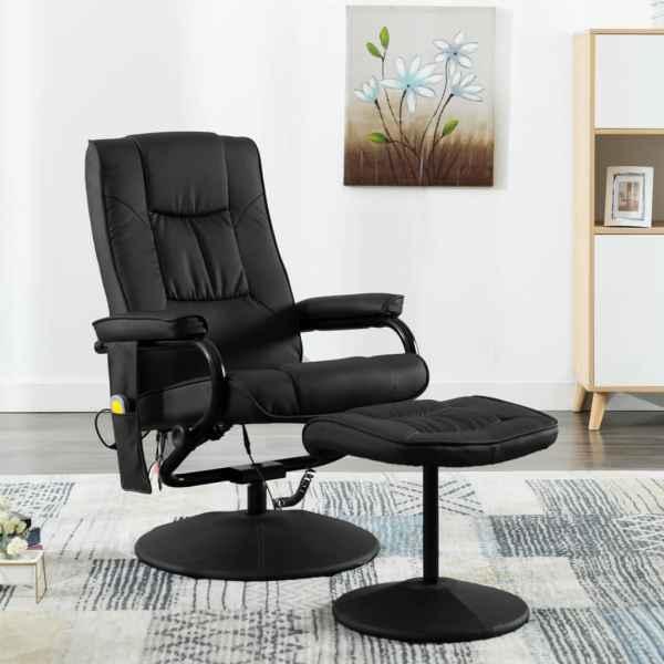 vidaXL Fotoliu de masaj cu taburet, negru, piele ecologică
