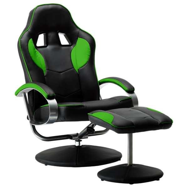 Fotoliu gaming rabatabil, cu taburet, verde, piele ecologică