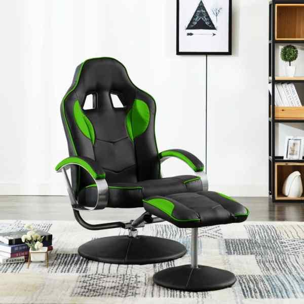 vidaXL Fotoliu gaming rabatabil, cu taburet, verde, piele ecologică