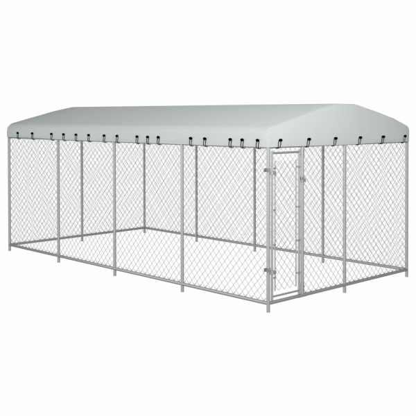 vidaXL Padoc pentru câini de exterior, cu acoperiș, 8 x 4 x 2 m