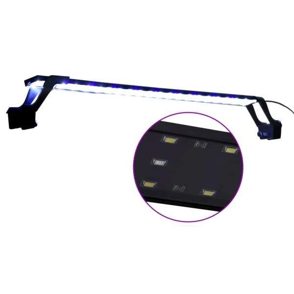 Lampă LED pentru acvariu, cu cleme, albastru/alb, 75-90 cm