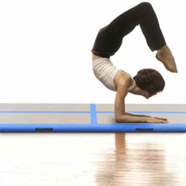 Saltea gimnastică gonflabilă cu pompă albastru 300x100x10cm PVC