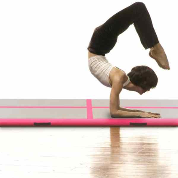vidaXL Saltea gimnastică gonflabilă cu pompă roz 600x100x10cm PVC