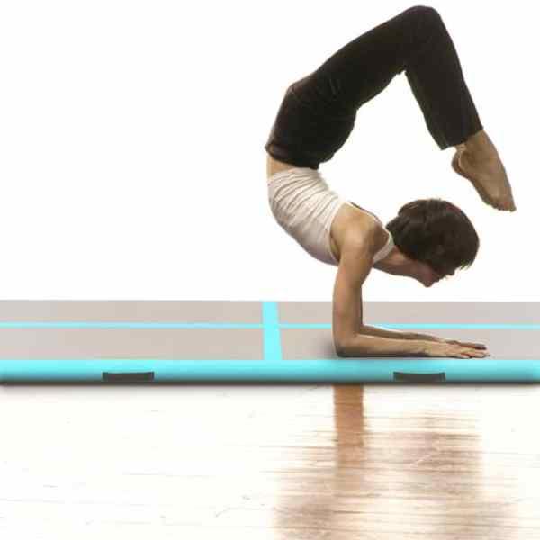 vidaXL Saltea gimnastică gonflabilă cu pompă verde 600x100x10cm PVC