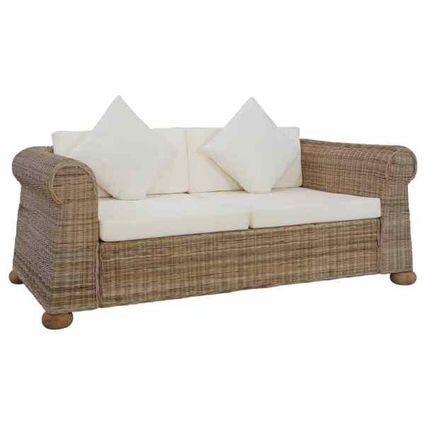 vidaXL Canapea cu 2 locuri cu perne, culoare naturală, ratan