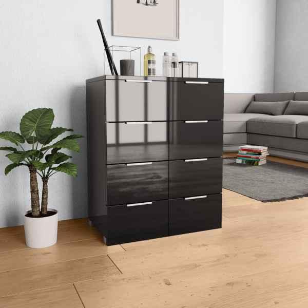 vidaXL Servantă, negru extralucios, 60x35x76 cm, PAL