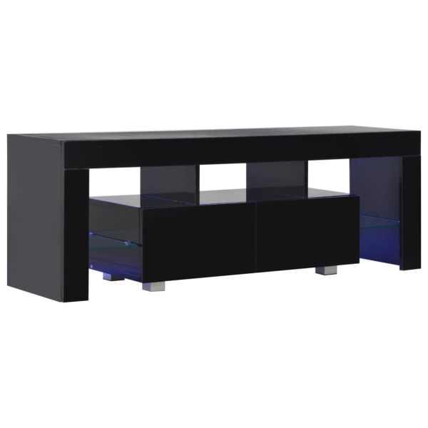 Comodă TV cu lumini LED, negru extralucios, 130x35x45 cm
