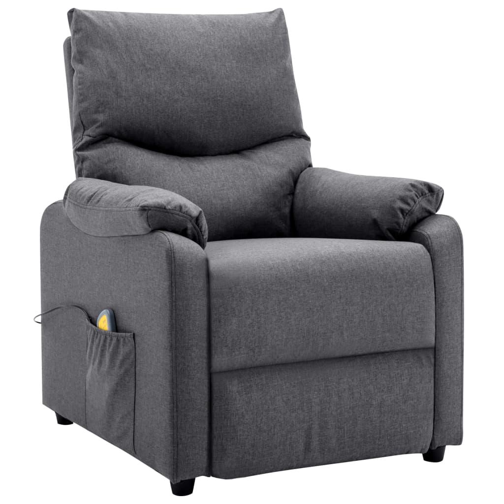 vidaXL Fotoliu TV de masaj rabatabil, gri închis, material textil