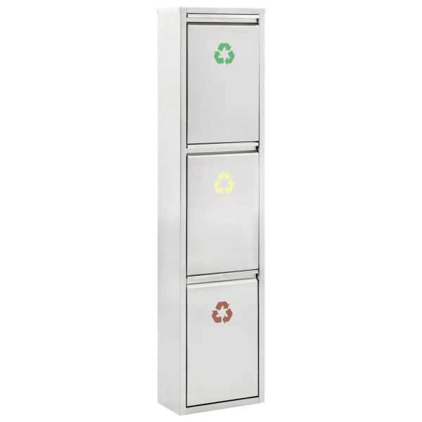 vidaXL Coș de gunoi pentru reciclare, argintiu, oțel inoxidabil, 3x8L