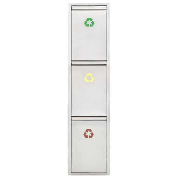 Coș de gunoi pentru reciclare, argintiu, oțel inoxidabil, 3x8L