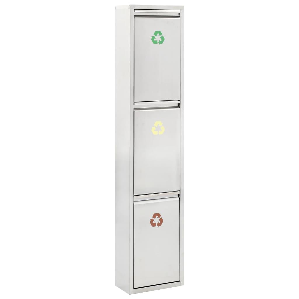 vidaXL Coș de gunoi pentru reciclare, argintiu, oțel inoxidabil, 3x15L