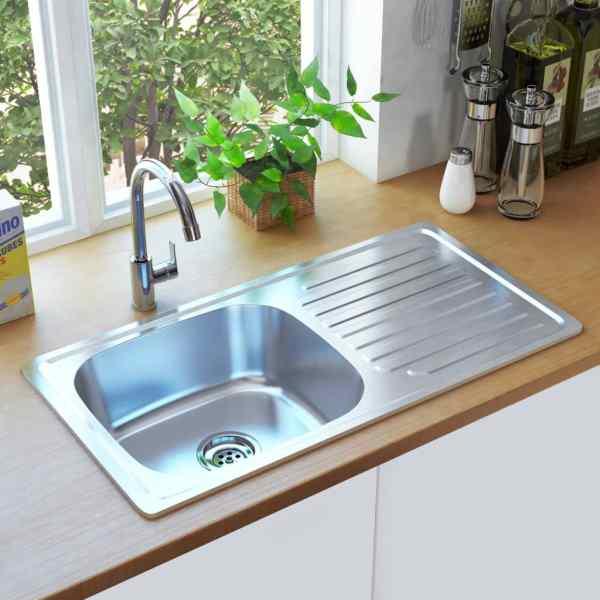 vidaXL Chiuvetă de bucătărie cu sită și sifon, oțel inoxidabil