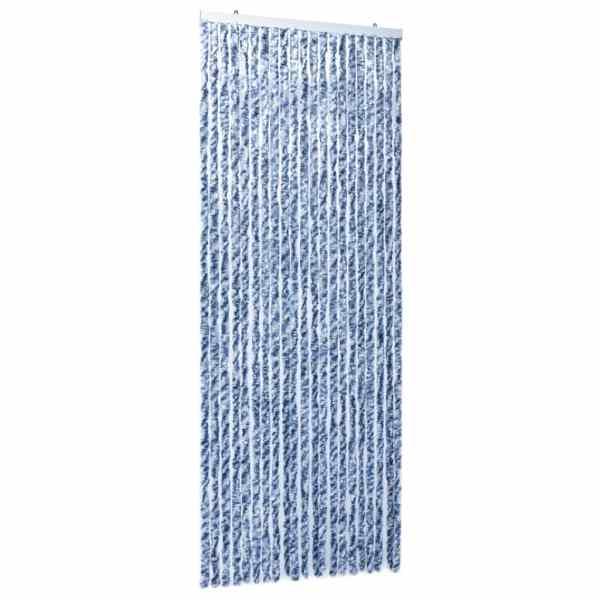 Perdea de insecte, albastru, alb, argintiu, 90×220 cm, Chenille