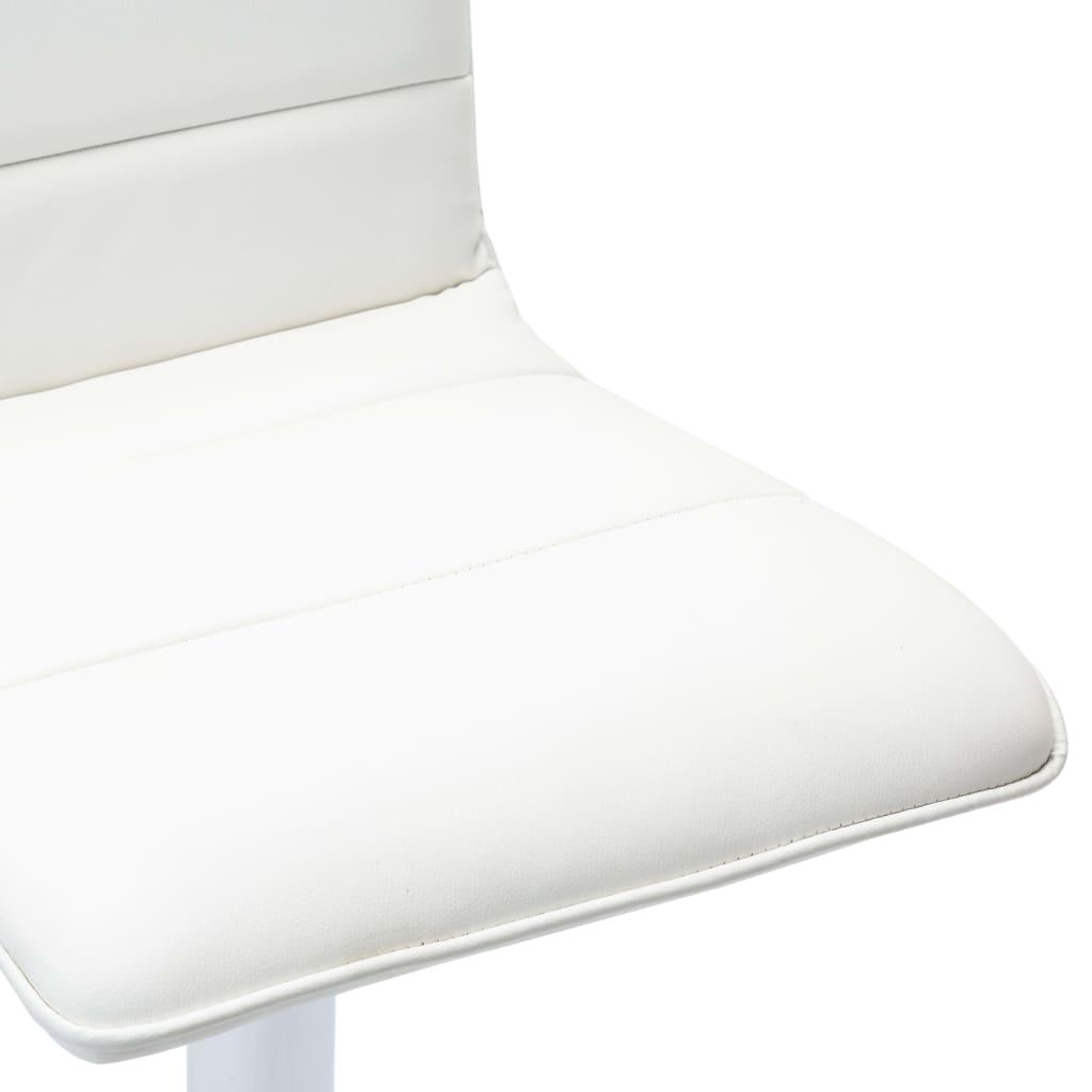 Scaune de bar, 2 buc., alb, piele artificială