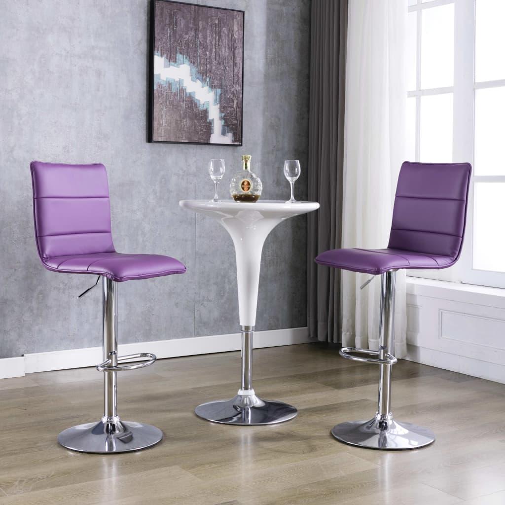 vidaXL Scaune de bar, 2 buc., violet, piele artificială