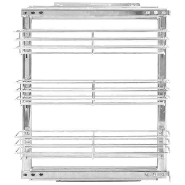 Coș sârmă bucătărie retractabil 3 niveluri argintiu 47x15x56 cm