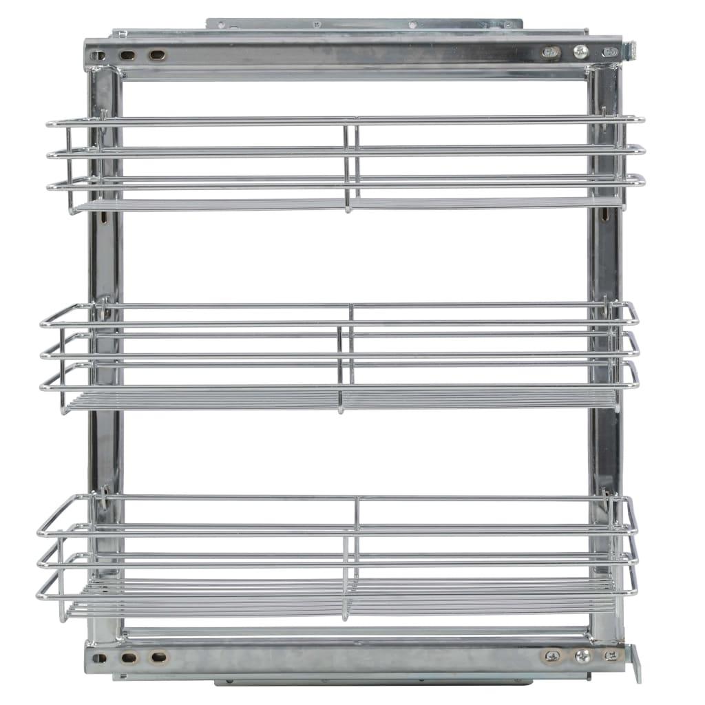 vidaXL Coș sârmă bucătărie retractabil 3 niveluri argintiu 47x25x56 cm