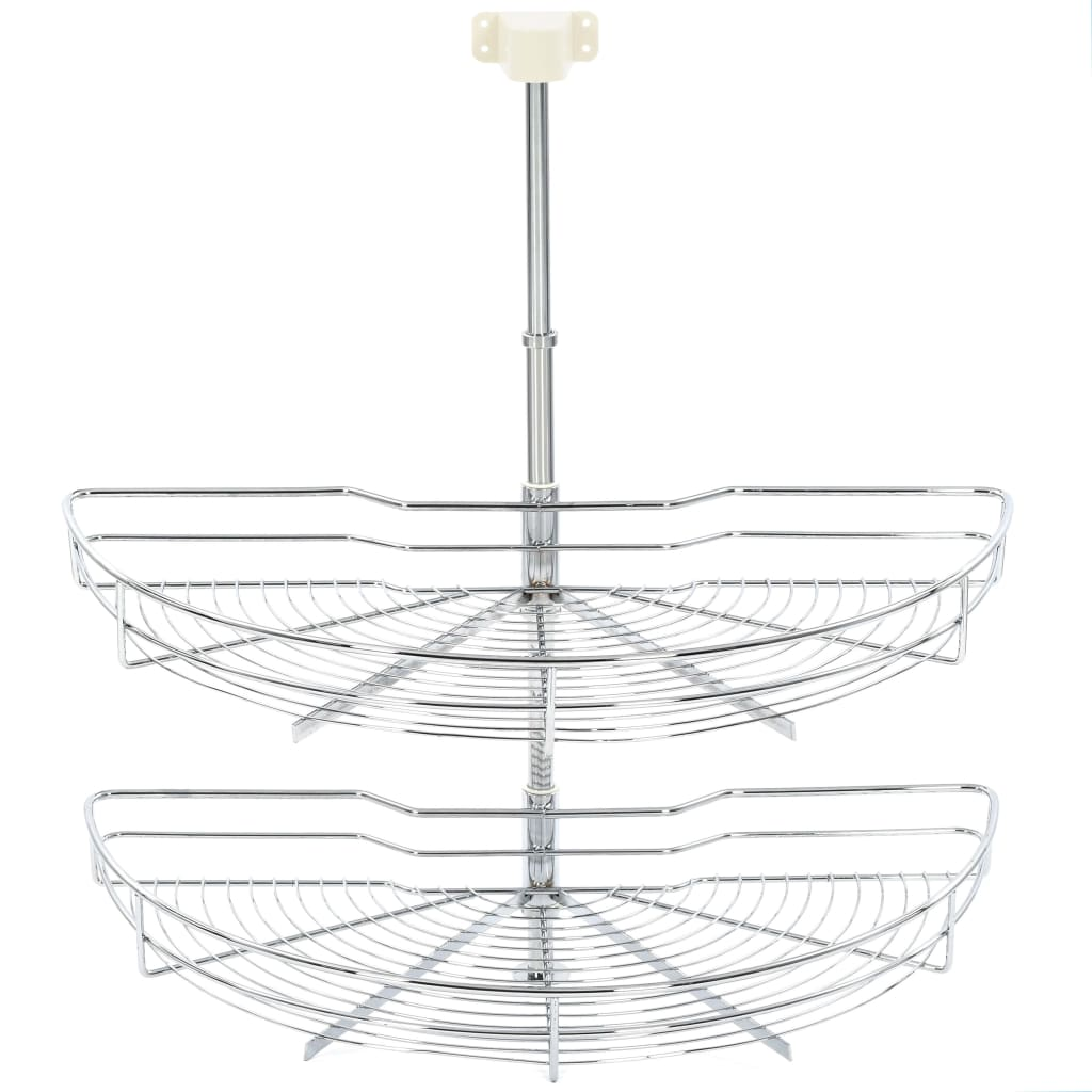 vidaXL Coș sârmă bucătărie 2 rafturi argintiu 75x38x80 cm 180 grade