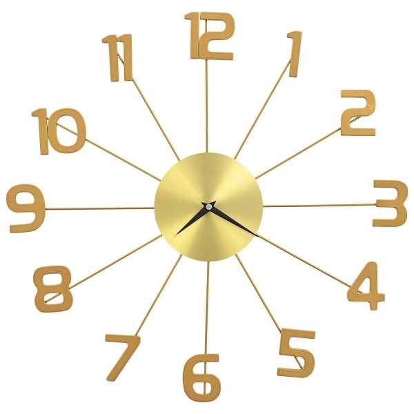 Ceas de perete, auriu, 50 cm, metal