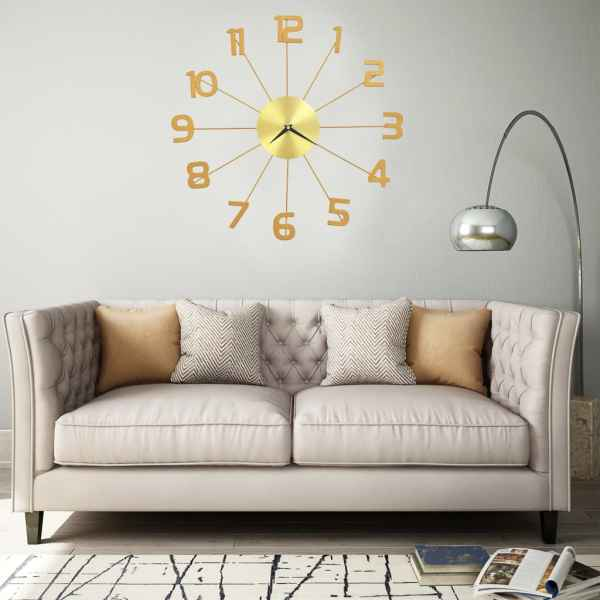 vidaXL Ceas de perete, auriu, 50 cm, metal