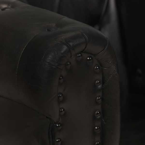 vidaXL Fotoliu chesterfield, negru, piele naturală