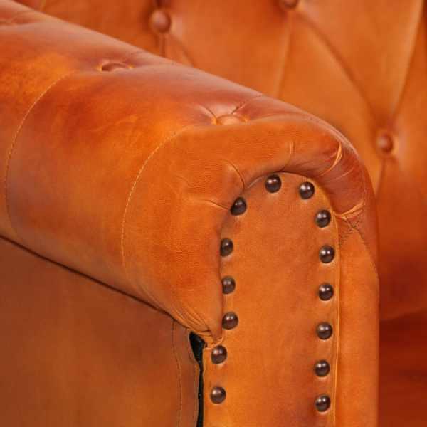 vidaXL Canapea chesterfield cu 2 locuri, arămiu, piele naturală