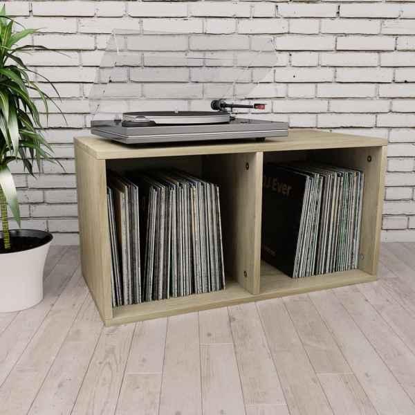 vidaXL Cutie depozitare vinyl-uri, stejar Sonoma, 71 x 34 x 36 cm, PAL