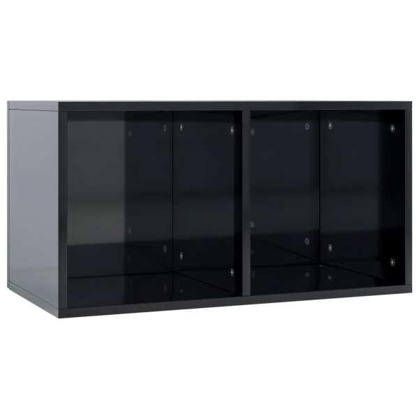 vidaXL Cutie de depozitare vinyl-uri, negru lucios, 71x34x36 cm, PAL