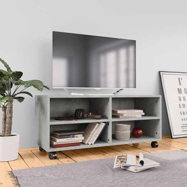 vidaXL Comodă TV cu rotile, gri beton, 90x35x35, PAL