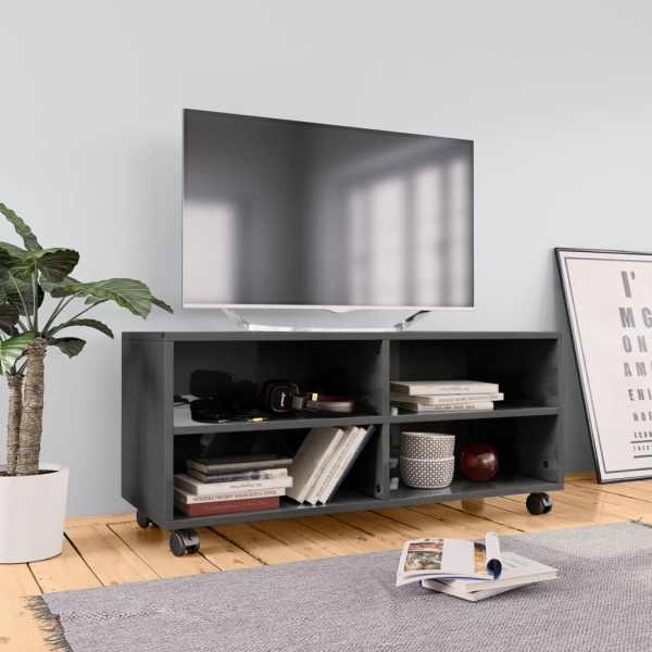 vidaXL Comodă TV cu rotile, gri extralucios, 90x35x35, PAL
