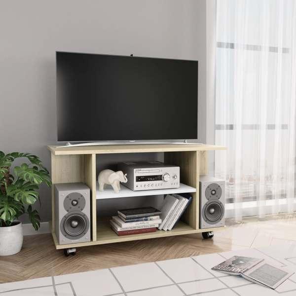 vidaXL Comodă TV cu rotile, alb și stejar Sonoma, 80 x 40 x 40 cm, PAL