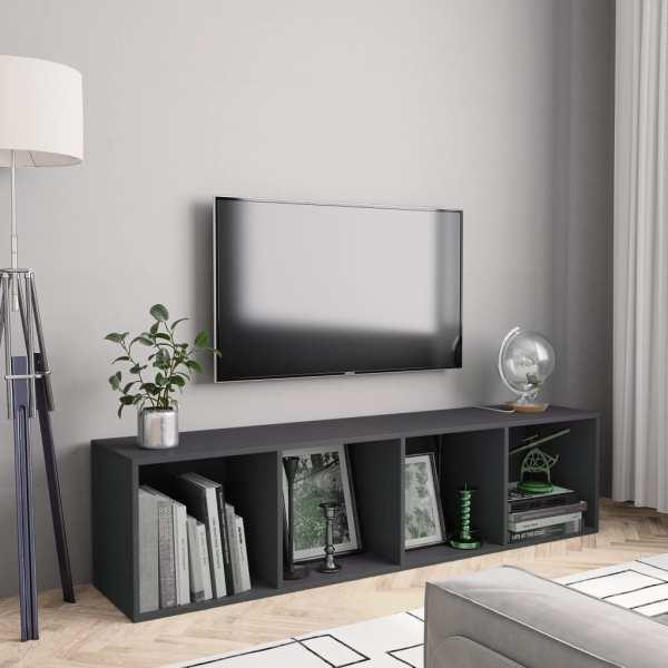 vidaXL Bibliotecă/Comodă TV, gri, 143 x 30 x 36 cm