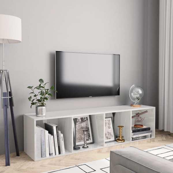 vidaXL Bibliotecă/Comodă TV, alb extralucios, 143 x 30 x 36 cm