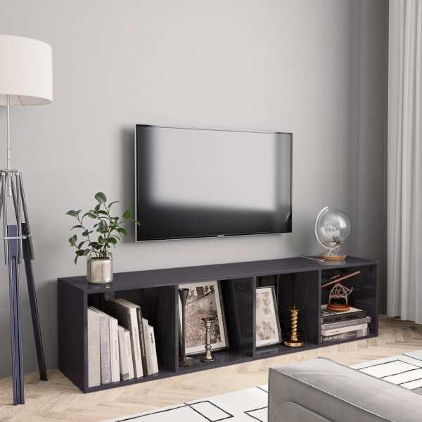 vidaXL Bibliotecă/Comodă TV, gri extralucios, 143 x 30 x 36 cm