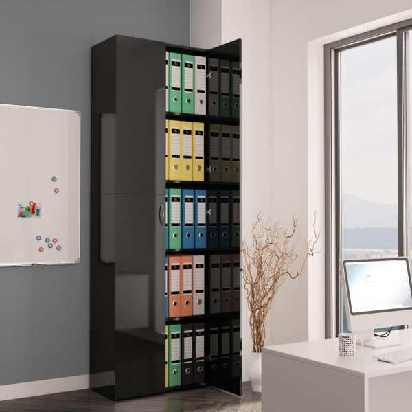vidaXL Dulap de birou, negru extralucios, 60x32x190 cm, PAL