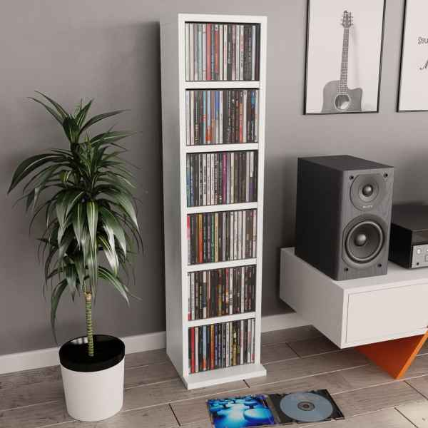 vidaXL Dulap pentru CD-uri, alb, 21 x 20 x 88 cm, PAL