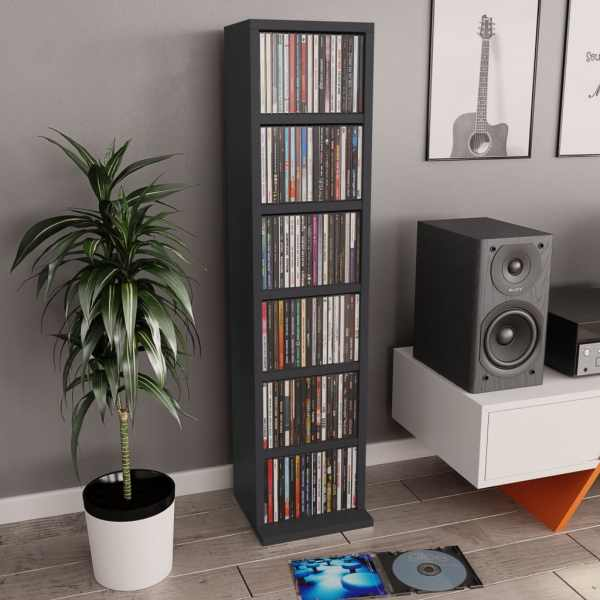 vidaXL Dulap CD-uri, gri, 21x20x88 cm, PAL