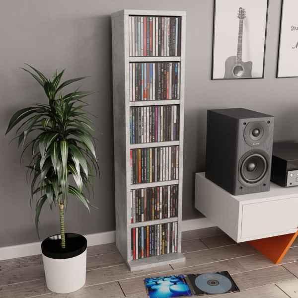 vidaXL Dulap CD-uri, gri beton, 21x20x88 cm, PAL
