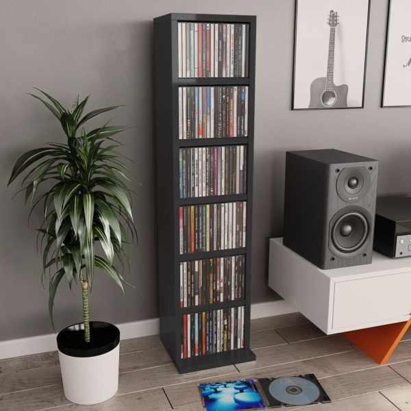 vidaXL Dulap CD-uri, negru extralucios, 21 x 20 x 88 cm, PAL