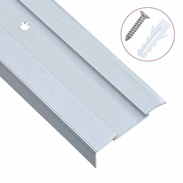vidaXL Profile trepte în formă de L, 15 buc, argintiu, 90 cm, aluminiu