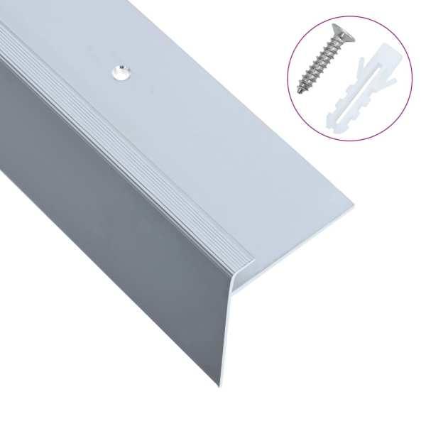 vidaXL Profile trepte formă de F, 15 buc., argintiu, 100 cm, aluminiu