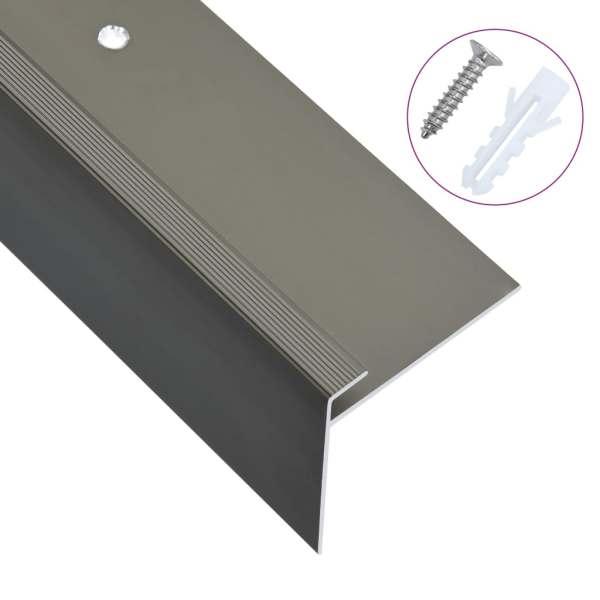 vidaXL Profile trepte în formă de F, 15 buc., maro, 134 cm, aluminiu