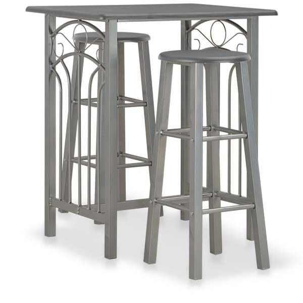 vidaXL Set mobilier de bar, 3 piese, antracit, lemn și oțel