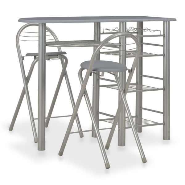 vidaXL Set mobilier de bar, cu rafturi, 3 piese, gri, lemn și oțel