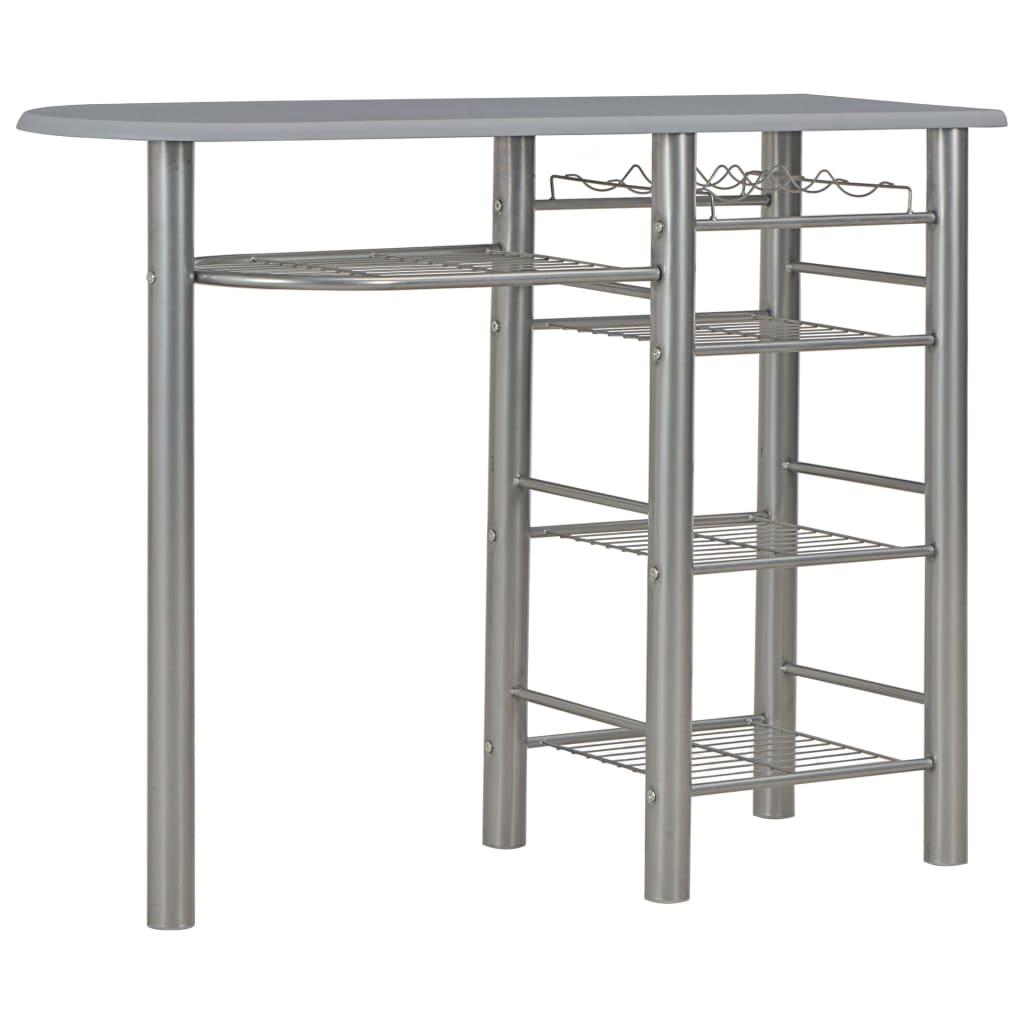 Set mobilier de bar, cu rafturi, 3 piese, gri, lemn și oțel