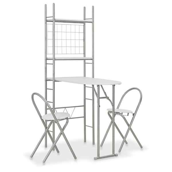 vidaXL Set mobilier bucătărie cu depozitare, 3 piese, alb, MDF și oțel