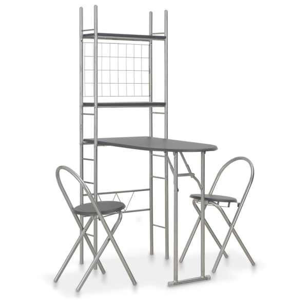 vidaXL Set mobilier bucătărie cu depozitare 3 piese negru, MDF și oțel