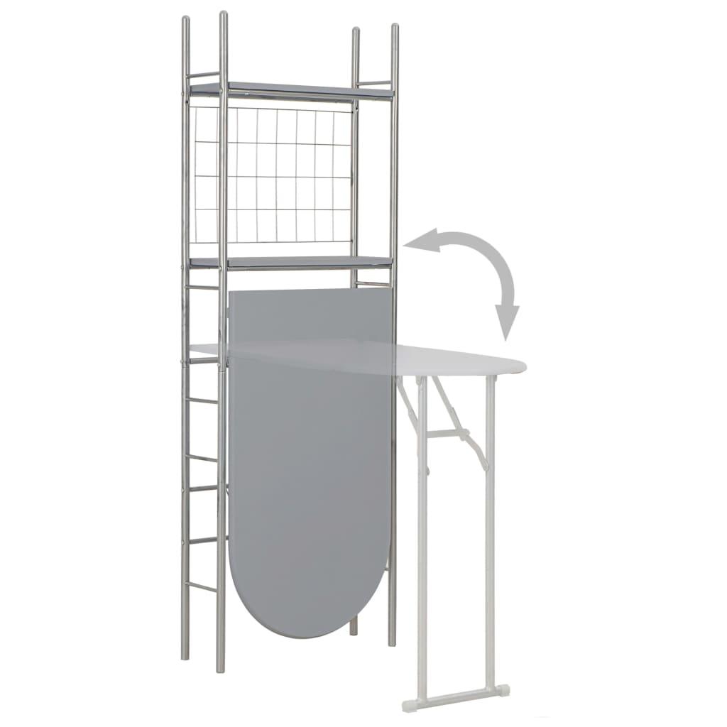 Set mobilier bucătărie cu depozitare, 3 piese, gri, MDF și oțel