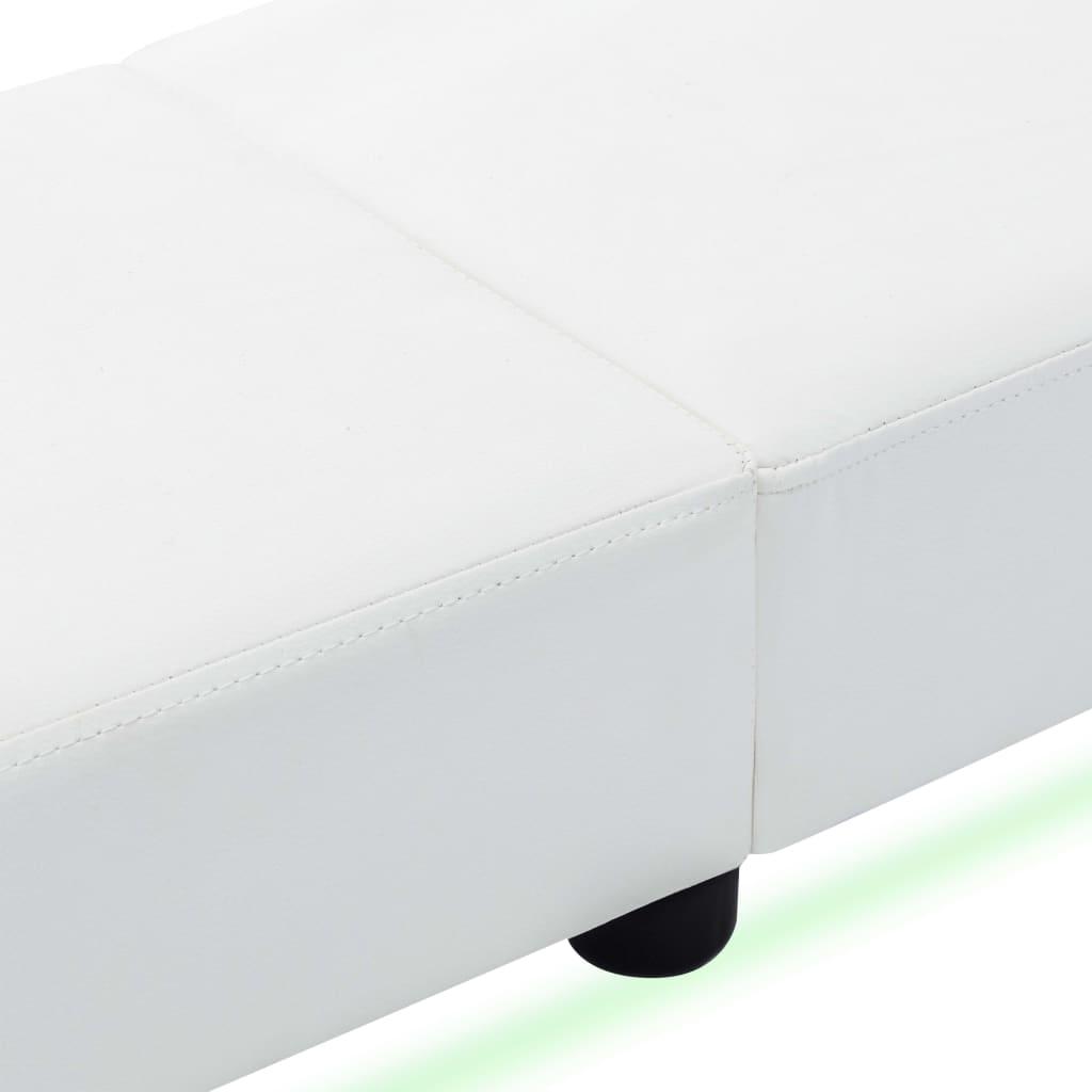 Cadru de pat cu LED, alb, 180 x 200 cm, piele ecologică
