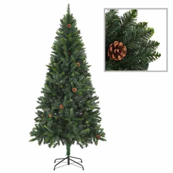 vidaXL Brad de Crăciun artificial cu conuri de pin, verde, 180 cm